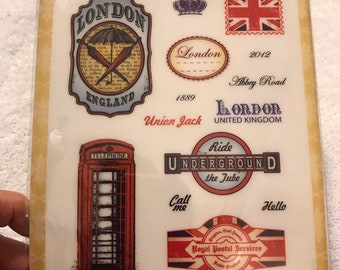 JUSTRITE CLING Rubber Stamps GREETINGS from LONDON CL-03770 Union Jack UNDERGROU