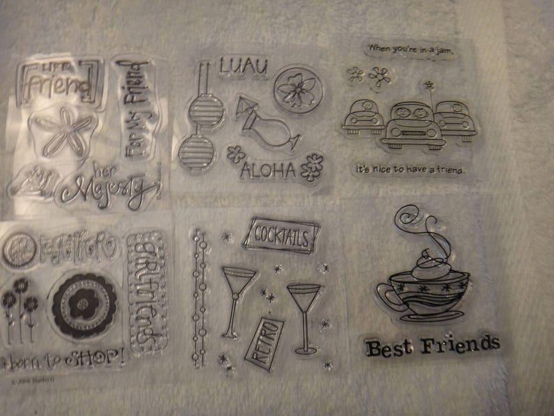 2.5 x 2.5 Cocktails Acrylic Stamps -6 Stamps Group Friends Card Making Scrapbook -CC2 -ML55 Appear New Stamping Free Shipping
