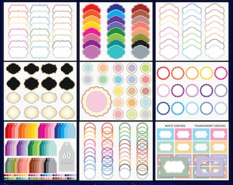 Frames Clipart, Scalloped Frames, Round Labels, Scalloped Labels, Tags Clipart, Digital Frames, Frame Clipart Bundle, Printable Frames