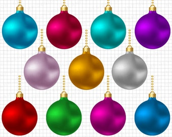 Christmas Balls Clipart Commercial Use Holiday Ornaments Download Scrapbook