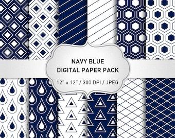 "Geometric Digital Paper: ""Navy Blue Digital Paper"" for scrapbooking, Navy Blue Pattern Prints, Navy Blue Paper, Blue Geometric Digital"