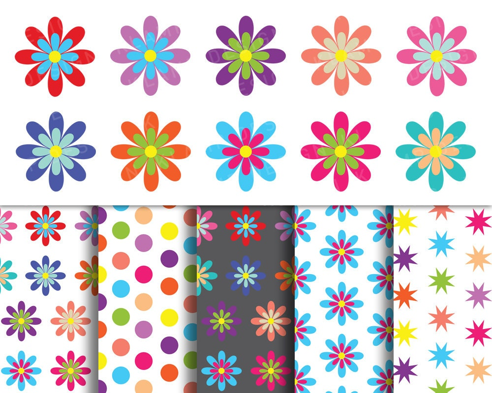 Digital Flower Clipart Spring Flowers Clipart Colorful Etsy