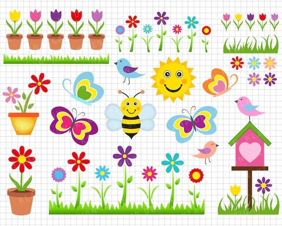 Frühling Clipart Frühling Digitale Clipart Blume Clipart Etsy