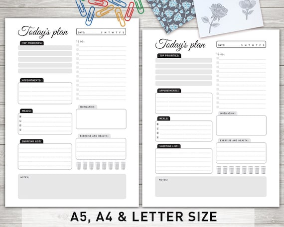 Daily Planner Printable TODAY S PLAN Daily Etsy