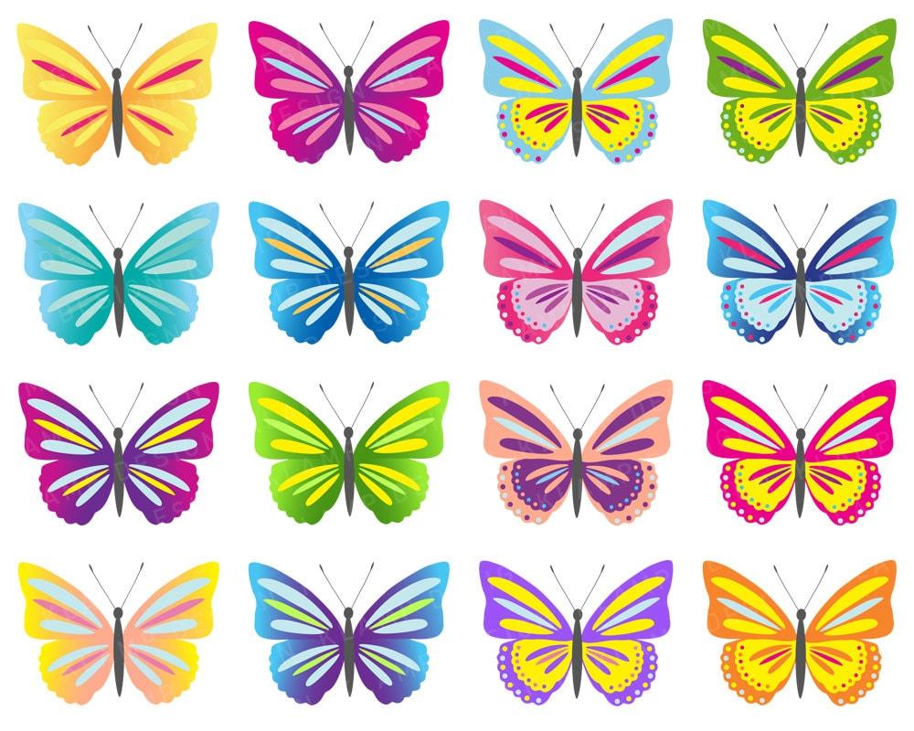 butterfly clip art digital butterflies clipart colorful | etsy
