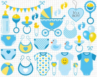 "Baby Boy Clipart: ""Blue Baby Boy Clip Art"" Scrapbook Invitation Baby Shower, Baby Boy Shower, Blue Baby Clipart, Nursery Clip Art"