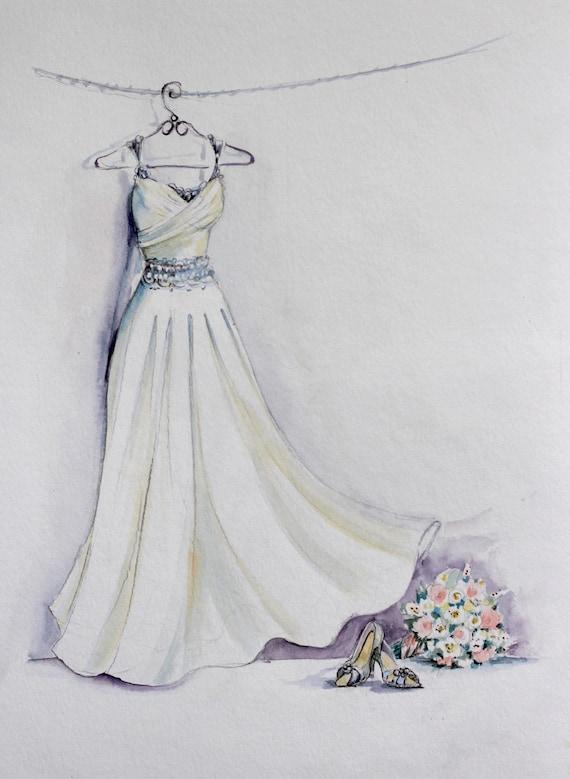 Boceto Acuarela De Vestido De Novia Con Ramo Y Zapatos De Novia
