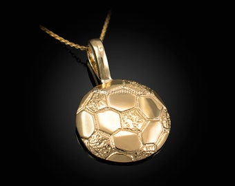 """Details about  /New 10k yellow Gold soccer ball Pendant charm sport fine gift jewelry 0.97/"""" 2.6g"""