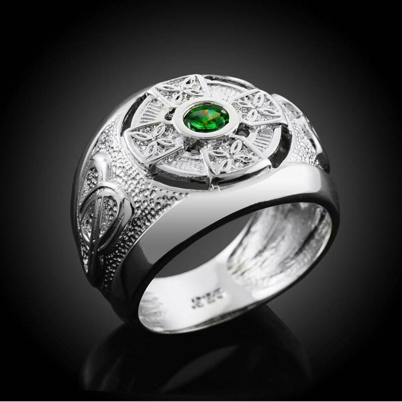 0354ae412d3f8 White Gold Irish Celtic Emerald-green CZ Mens Statement Ring | Etsy
