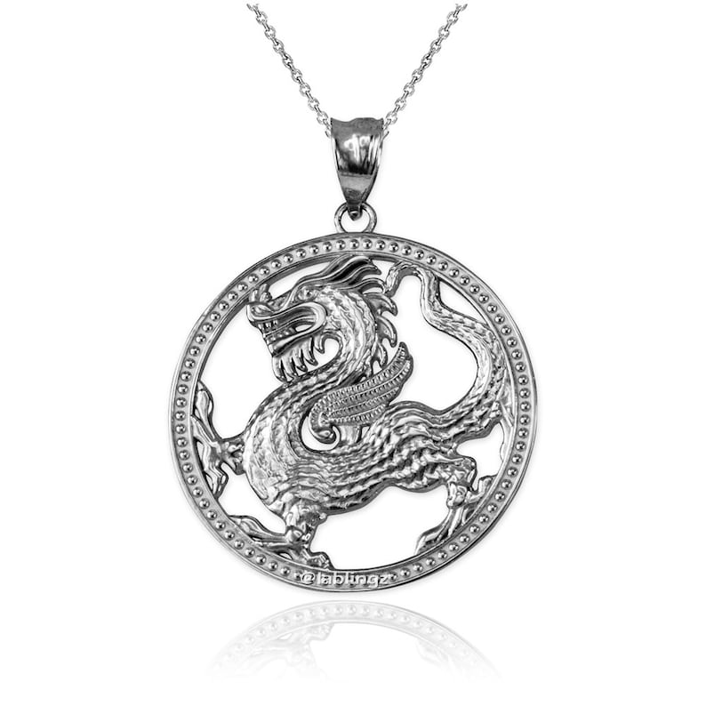 Gold Chinese Dragon Open Medallion Pendant Necklace yellow, white, rose gold, 10k, 14k