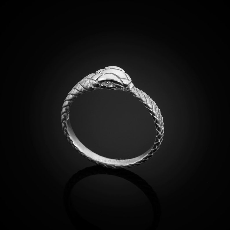 Sterling Silver Ouroboros Tail Eating Snake Ring Band