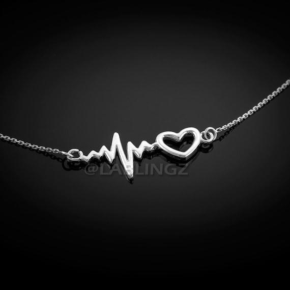 Heart Beat Love Charm EKG Gift NEW Heartbeat Pendant Solid 10k Yellow Gold