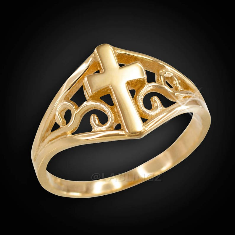 10k or 14k Solid Yellow Gold White CZ Filigree Band Nugget Design Womens Ring