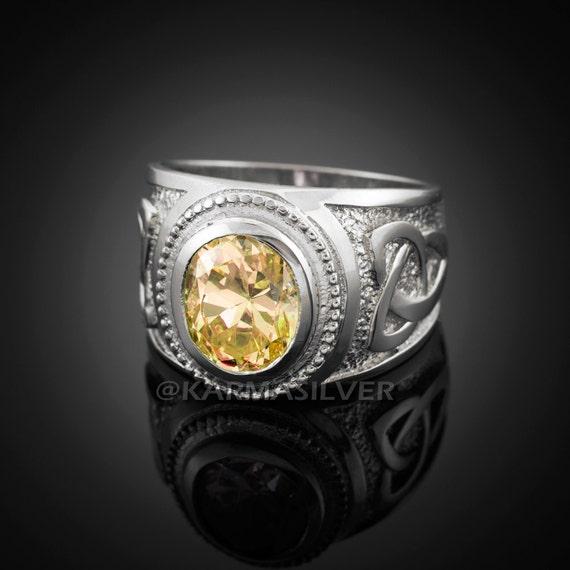 Sterling Silver Mariner Anchor November Birthstone Yellow CZ Ring