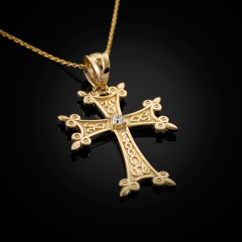2e7c8702aab5c Gold Armenian Apostolic Cross Diamond Charm Necklace (10k, 14k, yellow,  white, rose gold)