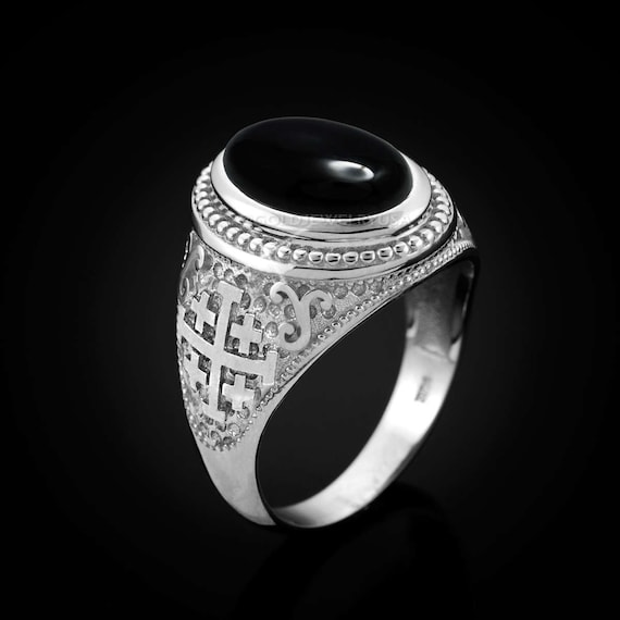 Anello Ring Croce Templare Celtica in Acciaio Dark Rock color Argento e Nero Top