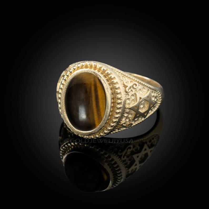 2a4dbddccda Judío estrella de David Tigre ojo declaración anillo de oro