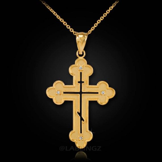 14k Yellow Gold Diamond ICXC NIKA Eastern Orthodox Cross Pendant Necklace