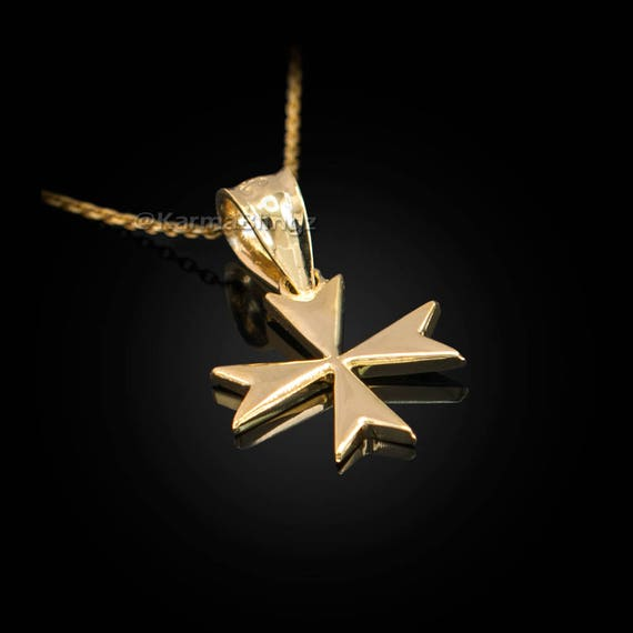 10K Yellow Gold Tiny Maltese Cross Charm Necklace
