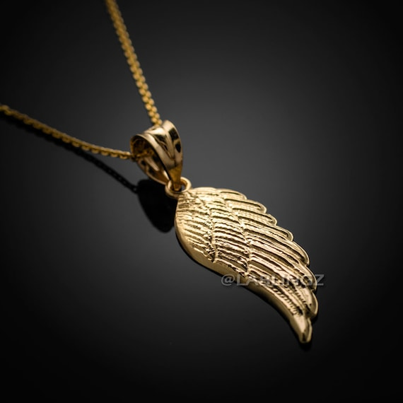 14k gold angel wing pendant necklace yellow white rose etsy image 0 aloadofball Choice Image