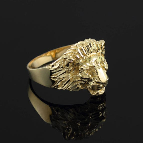 T 234 Te De Lion Unisexe Bague En Lion Or Jaune Blanc Or 10k