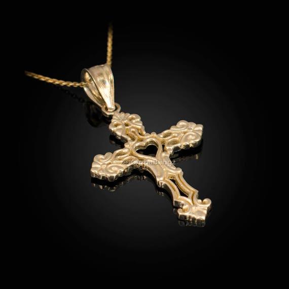 "10K Solid Yellow Gold Men Women 1.25/"" Cross Charm Pendant."