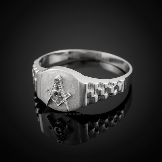 Sterling Silver Textured Round Masonic Men/'s Ring