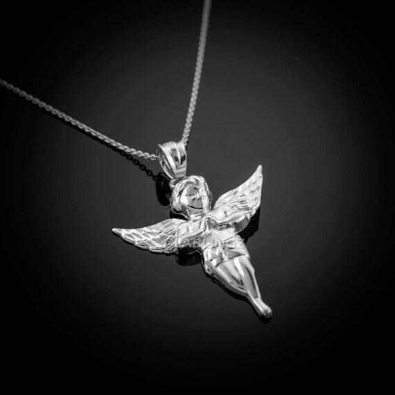 75e097ba71385 Polished Sterling Silver Angel Pendant Necklace