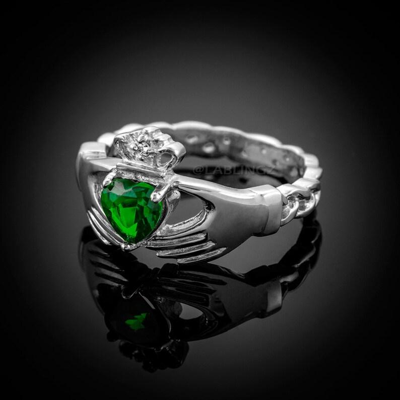3d59378e5f09d White Gold Irish Claddagh Ring Emerald Green CZ Heart | Etsy