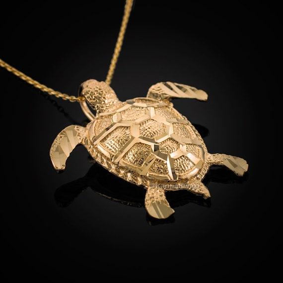 Pendants Beach and Sea Life Charms 10K Yellow Gold Turtle Charm Pendant