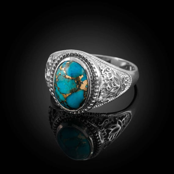 a83c05072760d Sterling Silver Lotus Blue Copper Turquoise Yoga Statement Ring