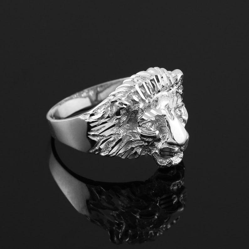 341b9af4f3fe6 Sterling Silver Lion Ring - Silver Lion Head (unisex) Ring - Leo Ring