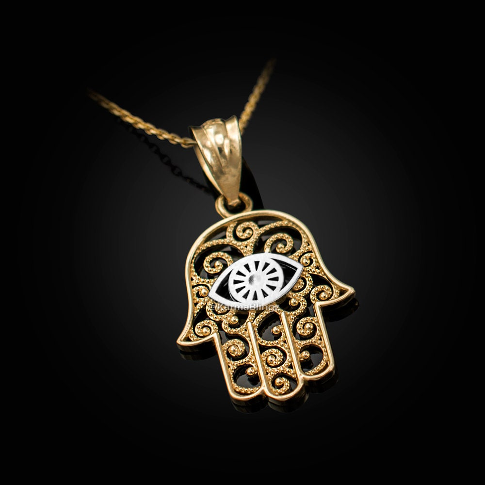 evil eye necklace filigree charm necklace hamsa charm Hamsa necklace flower charm necklace