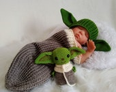 Baby Yoda Crochet Hat, Knitted  Hat,  Newborn - Adults, Gift