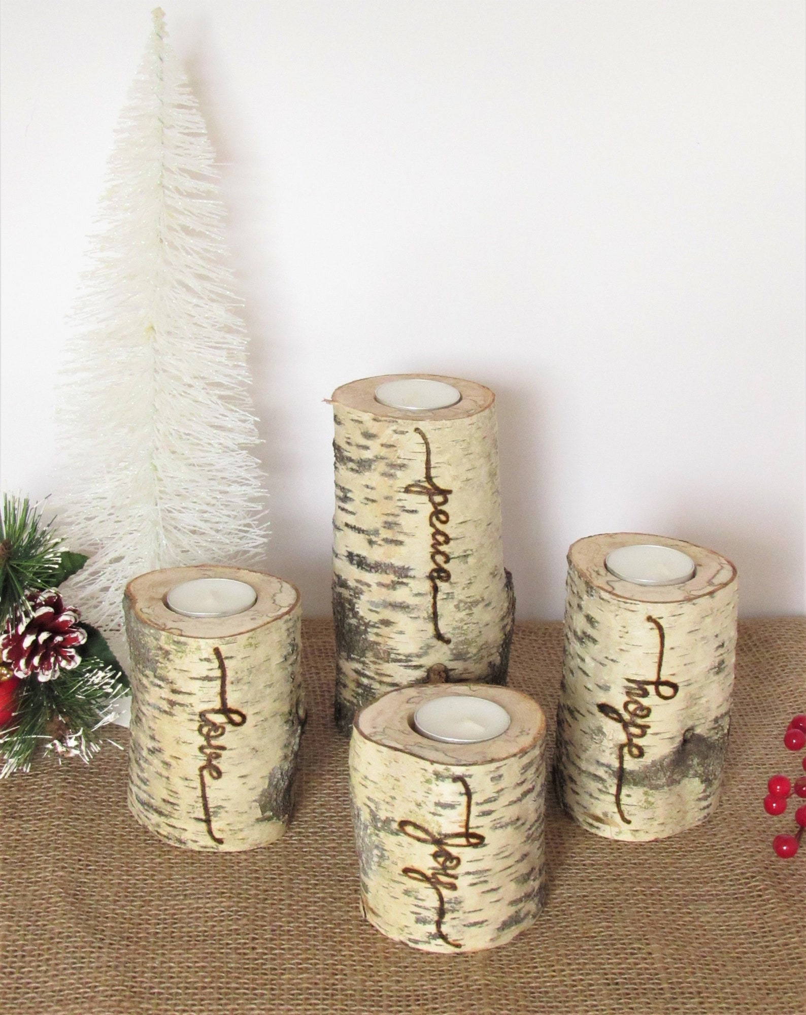 Christmas Advent Wreath, Set of Four Birch Candles with Words Peace, Hope,Love and Joy