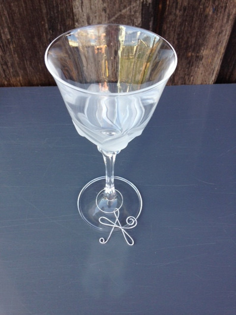 Charm Glass charms Wine Charms Initial Wine Glass Charms Wedding Favors Wire Wine Glass Charms Wine glass Accessories Wine Glass Tags