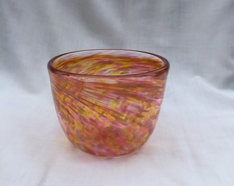 Pink and Yellow Hand Blown Glass Bowl (JJ B128)