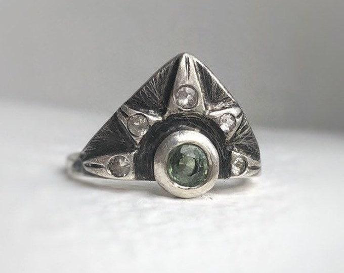 Featured listing image: Mononoke - Green sapphire ring, statement ring - sapphire ring - tribal ring - designer ring.
