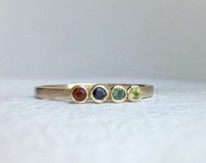 Featured listing image: Solid gold Multi stone ring - Family ring - birthstone ring