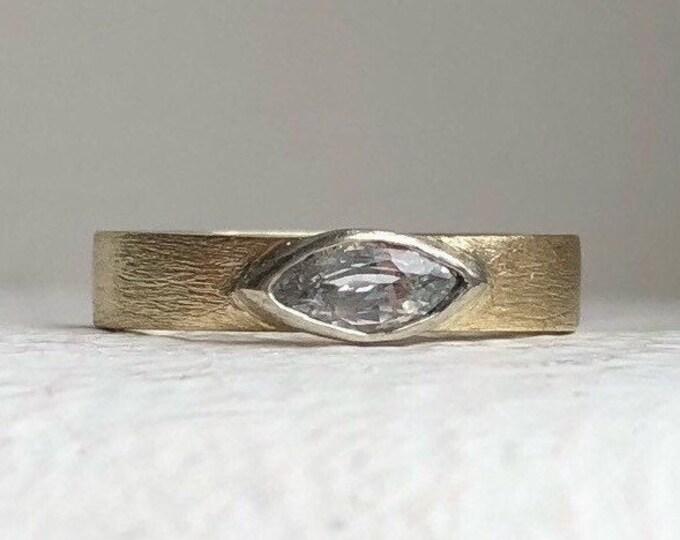 Featured listing image: Alternative engagement ring- Marquise engagement ring - White sapphire engagement ring - White sapphire solitaire ring - minimal engagement