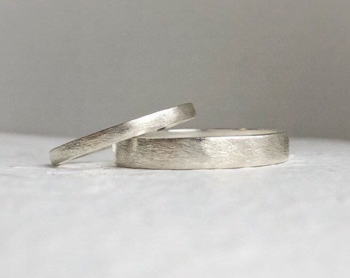 Featured listing image: Rustic wedding band set - Wedding bands his and hers - Wedding bands - Handcrafted - Men's wedding bands.