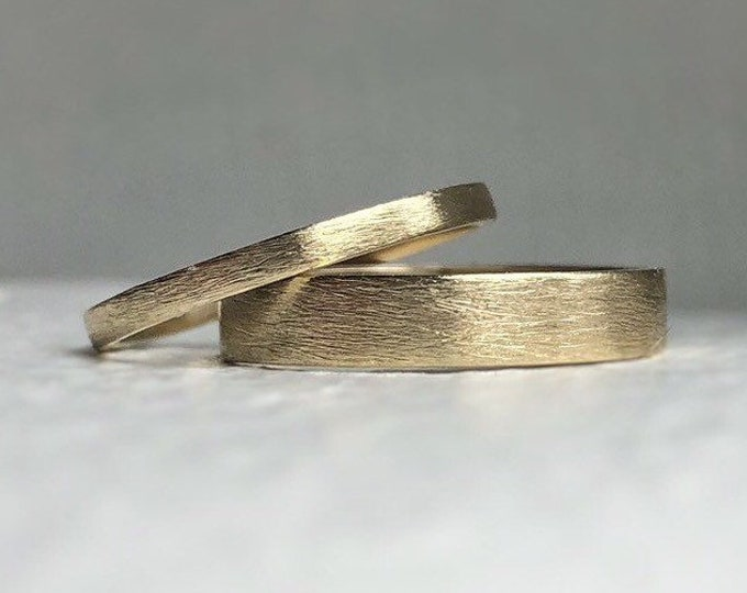 Featured listing image: Solid 10k - Ethically sourced conflict free! Yellow gold wedding band set - Wedding bands his and hers - Gold wedding bands - Ethical gold