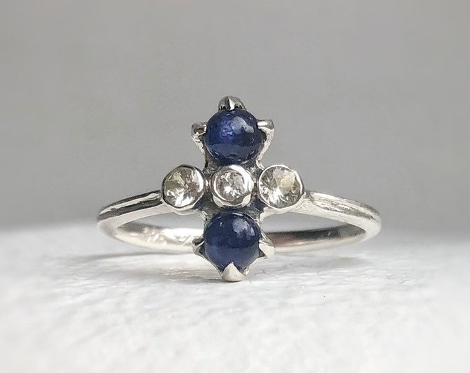 Featured listing image: Skyla - Blue sapphire ring, white sapphire ring, cocktail ring, something blue, dainty silver ring.
