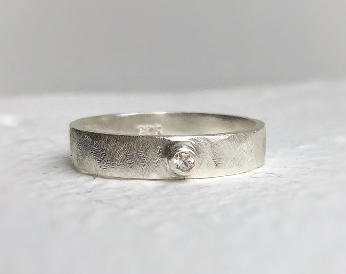 Featured listing image: Single white sapphire wedding band - wide wedding band - Sterling silver wedding band - unique wedding band