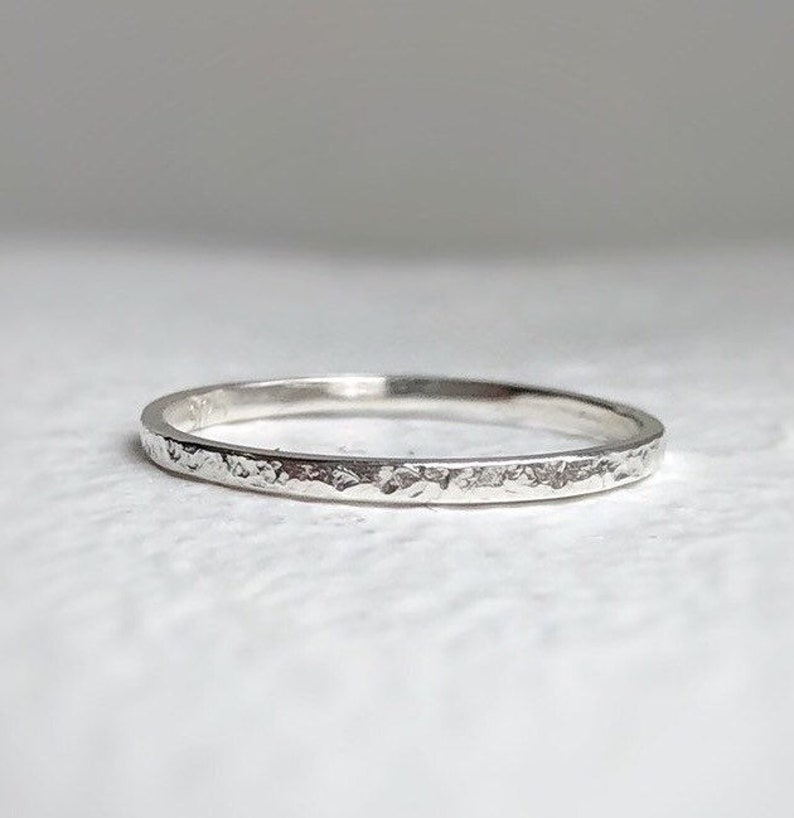 925  1.5mm  Thin hammered wedding ring  Ethical image 0