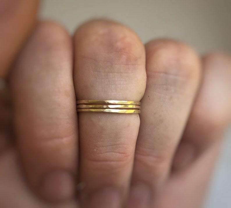 thin wedding ring stacking rings stacking gold band minimal band Tiny gold ring Solid gold Ultra thin gold band