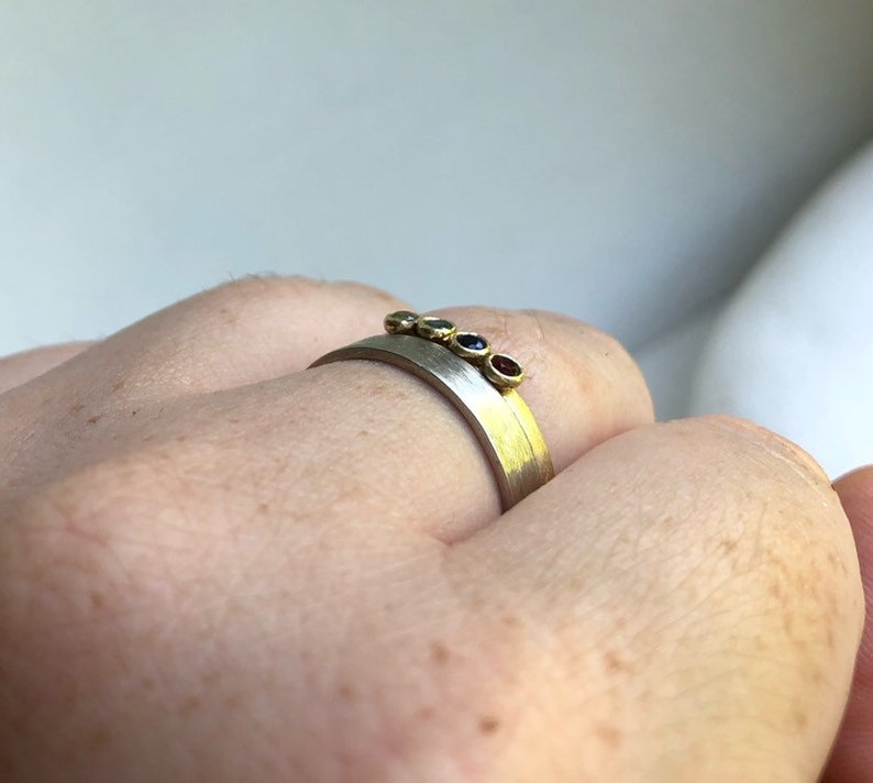 Solid gold Multi stone ring