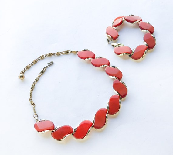 1960s Orange Lucite Necklace & Bracelet Set   60s