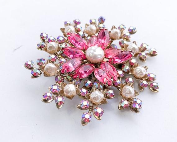 1950s Pearl & Pink Rhinestone Floral Brooch | 50s… - image 5