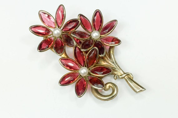 1940s Pink Flower Dress Clip | 40s Pink Glass Flow